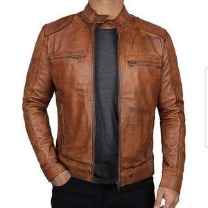NEW! 100% Lambskin Leather Bomber Motocycle Jacket